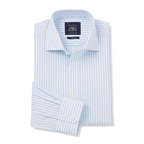 Savile Row Company Men's Blue White Stripe Cutaway Collar Slim Fit Shirt – Single Cuff