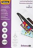Fellowes ImageLast A5 53600 - Pack de 100 Fundas de Plastificar, Brillo, Formato A5, 80 micras, Transparente