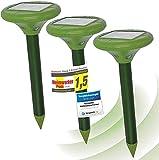 ISOTRONIC Maulwurf Vertreiber solarbetrieben, mit ON/Off – Schalter, Ultraschall Schädlingsbekämpfung gegen Wühlmäuse