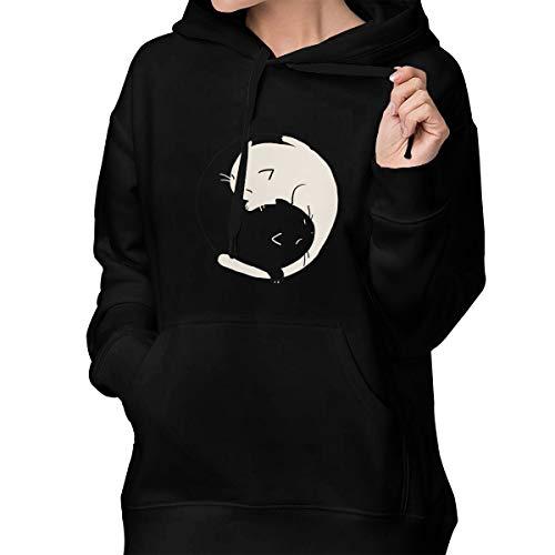 Heart Eyes Yin Yang Cats Fashion Hoodies Sweatshirt with Pocket for Women Black