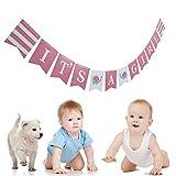 Banderines para baby shower de RALC, diseño de elefante, color azul y rosa 4.