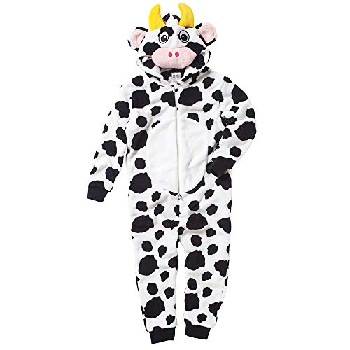 Onesies Animal Crazy Boys Girls Cow Nativity Onesie Supersoft Fleece Jumpsuit Playsuit UK Seller - Black/White - 13 Years