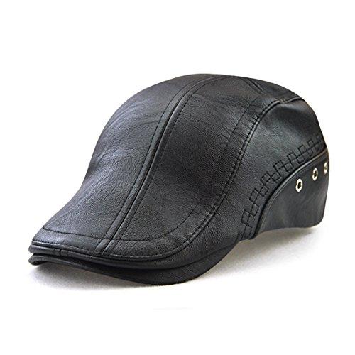 Roffatide Engranaje Costura Cuero de la PU Ajustable Plano Gorra Sombrero de Boina Golf Chapelas Negro (Varios)