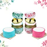 30 Pieces Reusable Bamboo Cotton Pads Washable Makeup Remover Pads with Laundry Bag and 2 Pieces Pretty Metal Box Portable for Women Girls Makeup Powder Storage Skin Care, Pink and Blue