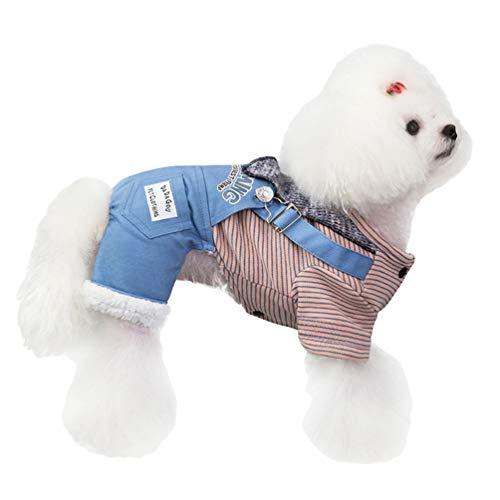 YOUJIAA Hund Katze Winterkleidung Streifen Tops Gedruckte Overalls Warm Atmungsaktiv Fleece Pullover Haustier Anzüge (Blau, CN M)