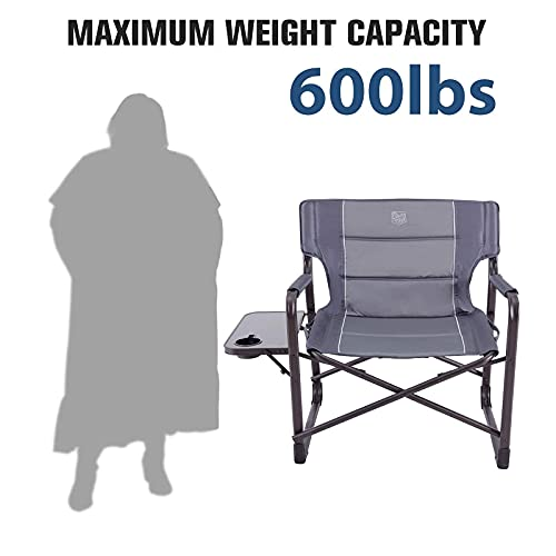 TIMBER RIDGE Oversized Directors Chairs with Side Table, Heavy Duty Folding Camping Chair up to 600 Lbs Weight Capacity (Gray)