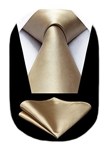 HISDERN Corbata y Pañuelo Hombre Corbata Elegante Corbatas de Hombre Originales Modernas Regalos de Hombres Corbata para Fiesta Corbata champagne