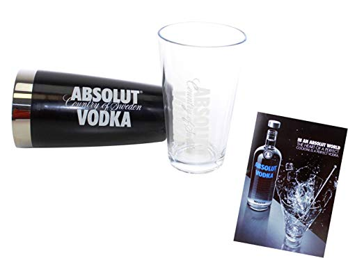 Absolut Vodka Boston Shaker schwarz mit Rührglas ~mn 86 1043