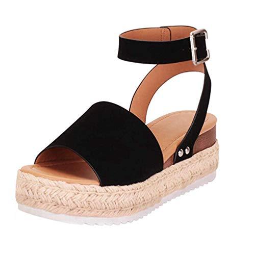 Mujeres Sandalias de Suela de Goma con Tachuela cuña Abierta Sandalia del Dedo del pie Hebilla de Verano Correa de Tobillo Casual Zapatos
