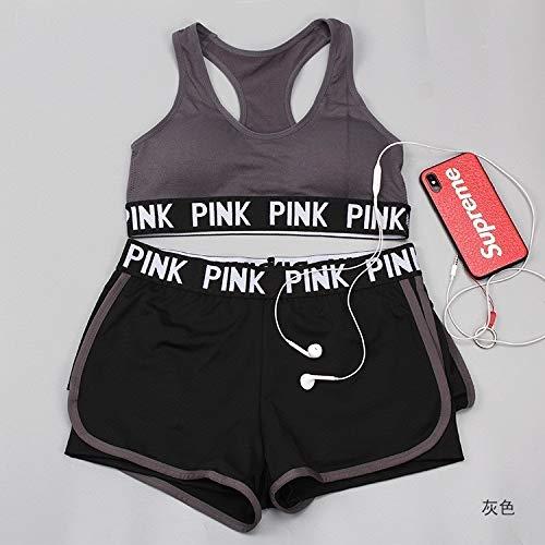 3 Establece mujer piezas de Yoga Wear carta de color rosa Deporte aptitud de las mujeres del sujetador del deporte + Yoga Pantalones + Pantalones cortos Deporte Conjunto sesión de gimnasio ropa