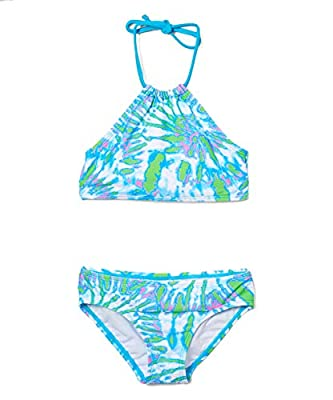 Kanu Surf Girls' Mahina Beach Sport Halter Bikini 2-Piece Swimsuit, Camille Lt Blue, 8