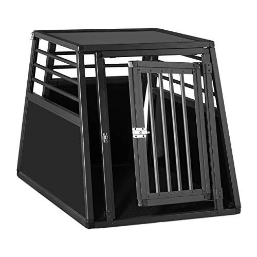 Relaxdays Hundebox Auto, Hundetransportbox für Kofferraum, abgeschrägt, Alu Hundekäfig, HBT 68 x 65,5 x 92,5 cm, schwarz