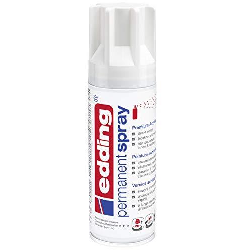 edding 5200 Permanent-Spray - verkehrs-weiß glänzend - 200 ml - Acryllack zum Lackieren und Dekorieren von Glas, Metall, Holz, Keramik, lackierb. Kunststoff, Leinwand, u. v. m. - Sprühfarbe