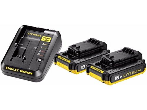 STANLEY FATMAX FMC693D2-QW - Pack Cargador de 2Ah con 2 baterías de litio 18V de 2Ah