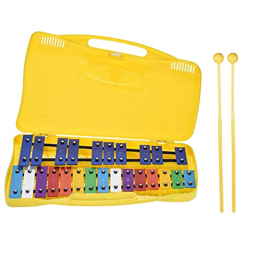 Joyhoop 25 Note Xilofono Glockenspiel Cromatico, xilofono Bambini Metallofono Percussioni Ritmo Musicale Strumento Educativo Giocattol, con 2 Martelli Custodia Palmare per Bambini Giocattoli Musicali