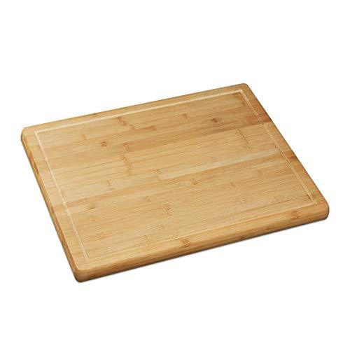 Relaxdays Schneidebrett Bambus, antibakteriell, Saftrille, Küchenbrett oder Herdabdeckung, HBT: 2 x 56,5 x 50 cm, natur