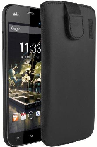 mumbi Echt Ledertasche kompatibel mit Wiko Darkmoon Hülle Leder Tasche Case Wallet, schwarz