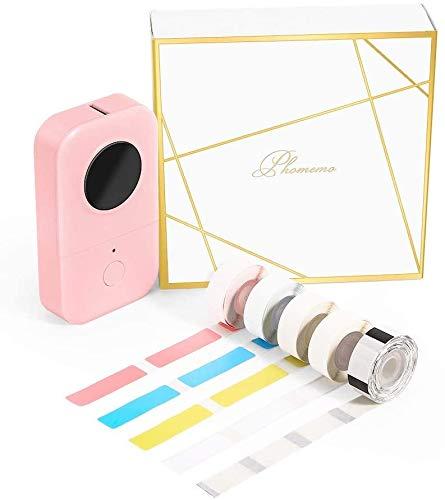 Phomemo D30 Bluetooth Etikettendrucker Mini Thermoetikettendrucker tragbares label maker,Geschenkbox mit 5 Rollen Thermoetikettenpapier,Einfache Verwendung für Zuhause,Büro,Schule,Ladengeschäft.Rosa