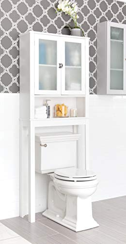 Zenna Home Classic Over-The-Toilet Spacesaver Bathroom Storage with Glass Windows, White
