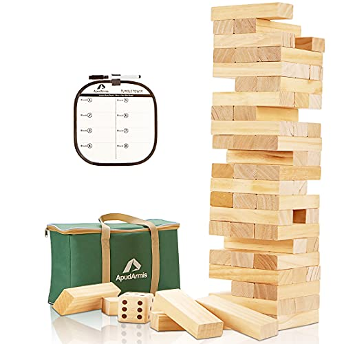 ApudArmis Giant Tumble Tower (Stack from 2Ft to Over 4.2Ft), 54 PCS Pine Wooden Stacking Timber Game with 1 Dice Set - Classic Block Giant Outdoor Game for Kids Adults Family
