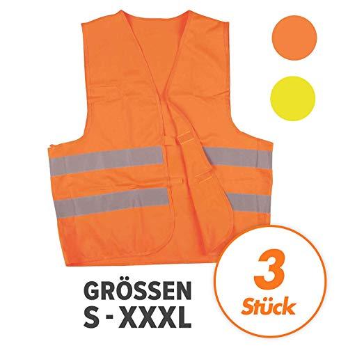 Warnweste, Sicherheitsweste, Pannenweste mit Reflexstreifen EN ISO 20471-2 Farben in S, M, L, XL, XXL, XXXL - VPE = 3 Stück, Farbe:orange, Größe:L