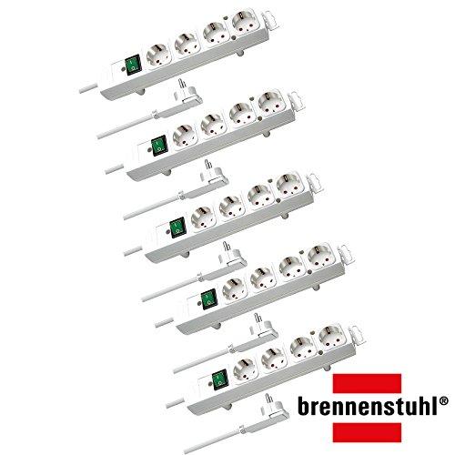 Brennenstuhl Comfort-Line Plus, Steckdosenleiste 4-Fach (mit Flachstecker, Schalter, 2m Kabel und extra breite Abstände der Steckdosen) Farbe: weiß | 5 Stück