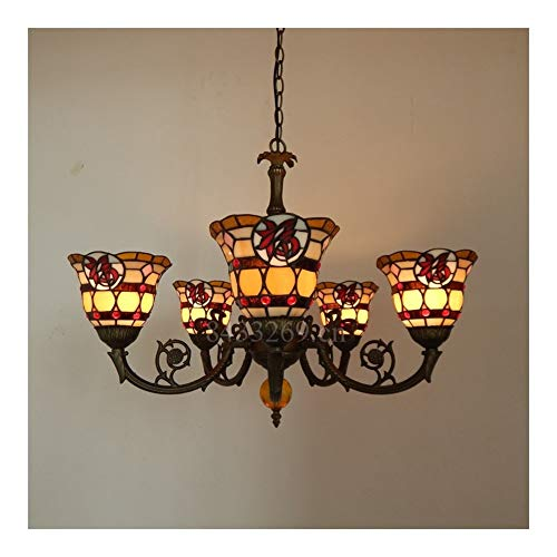 GUANGHEYUAN-J Tiffany-Style Lámpara Pendiente de Cristal Hecha a Mano de 5 Brazos, luz de la Gota con el vitral for la decoración casera, Decoración del hogar