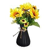 123 Life Jarrón de plástico para flores, duradero y moderno, decorativo para salón, oficina, boda, decoración (negro)
