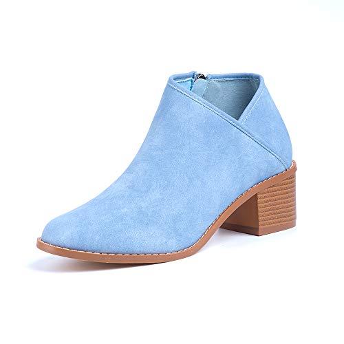 Botines Mujer Tacon Medio Invierno Planos Tacon Ancho Piel Botas Botita Moda 5cm Casual Planas Zapatos Calzado Caqui Azul Marrón 35-43 EU