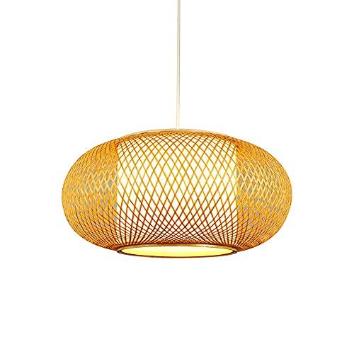 WANGYAN Colgante De Arte De Ratán Estilo Chino Araña De Tejer De Bambú Creativa Accesorios De Iluminación De Techo del Sudeste Asiático Portalámparas Redondo De Bambú Natural Art Lantern E27