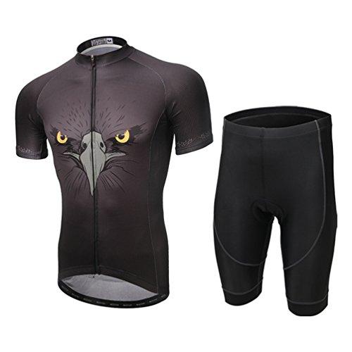 YOUJIA Hombre Ciclo Bicicleta Pantalones Cortos + Manga Corta Jersey Maillot de...