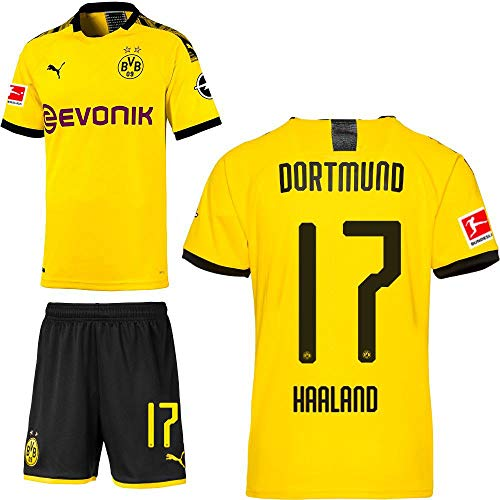 PUMA Borussia Dortmund BVB Heimset 2019 2020 Home Kit Trikot Shorts Kinder Erling Haaland 17 Gr 164