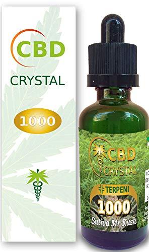 Crystalcbd 50ml kush CBD Liquid mit 1000mg CBD Cannabidiol - Cannabis sativa/Hanf-Geschmack für E-Zigaretten und E-Shishas (nikotinfrei)
