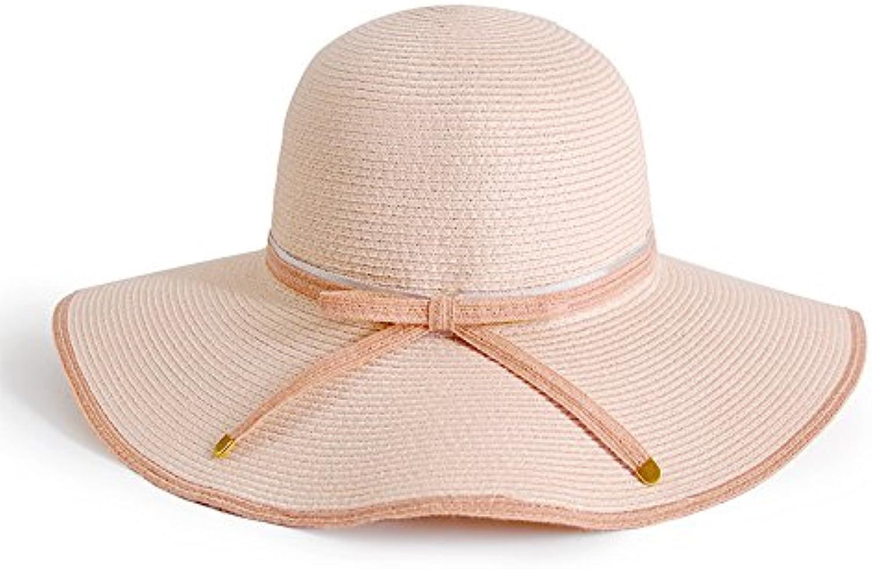 YMFIE Ladies Sunscreen Folding Sunshade Hat Outdoor Beach Resort Sun Hat Straw Hat,D