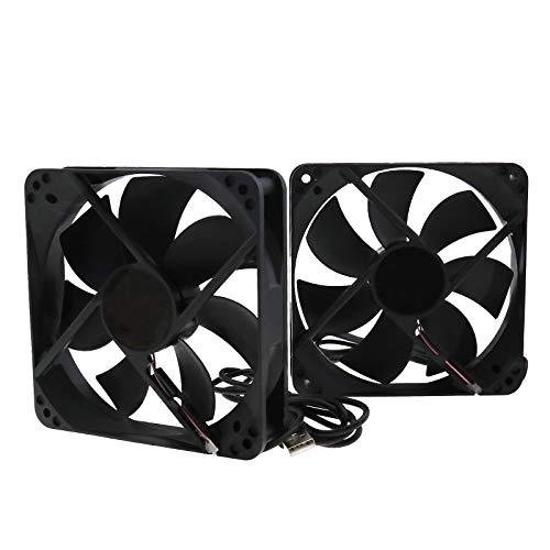 Create idea 2X CPU - Ventilador de refrigeración USB con caja de radiador silencioso, ventilador de gabinete DC 5 V, 120 x 120 x 25 mm