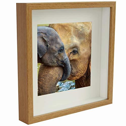 BD ART 23 x 23 cm Box 3D Marco de Fotos con Paspartu 13 x 13 cm, Roble