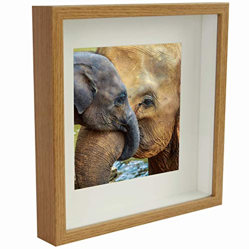 BD ART 9x9 (23 x 23 x 4.7 cm) Oak Shadow Box 3D Square Picture Frame with Mat for 5x5 inch Photo, Glass Front