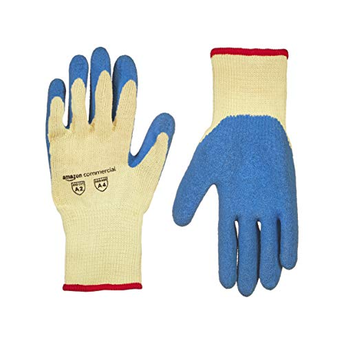 AmazonCommercial 10G Kevlar & Wrinkle Latex (Yellow/Blue), Size S, 6 Pairs