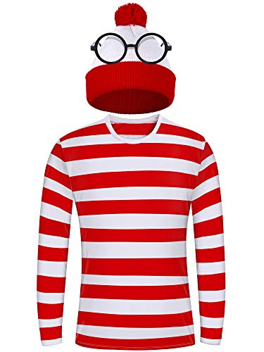 URATOT Adult Men Halloween Costume Sets Red and White Striped Tee Shirt Beanies with Nerd Glasses