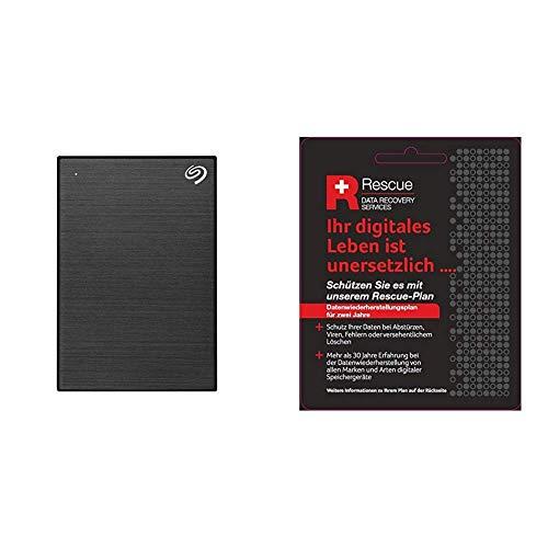 Seagate Backup Plus Portable 5 TB tragbare Externe Festplatte (6,3 cm(2,5 Zoll) USB 3.0, PC und Mac) schwarz + Datenrettungs Service tragbare Externe SSD (6,3 cm(2,5 Zoll) USB-C, USB 3.0, PC und Mac)