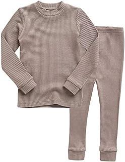 Vaenait baby 12M-7T Toddler Kids Unisex Girls & Boys Soft Comfy Modal Tencel Shirring Sleepwear Pjs Pajama Set