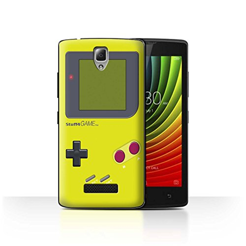 Phone Case for Lenovo A2010 Video Gamer/Gameboy Yellow Design Transparent Clear Ultra Slim Thin Hard Back Cover