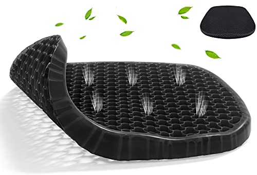 Parkyeon Gel Seat Cushion, Cooling Office Chair Cushion with Non-Slip Cover, Ergonomic Egg Seat Cushion, Large Thick Chair Cushion for Desk Car Wheelchair, Sciatica Tailbone & Back Pain Relief