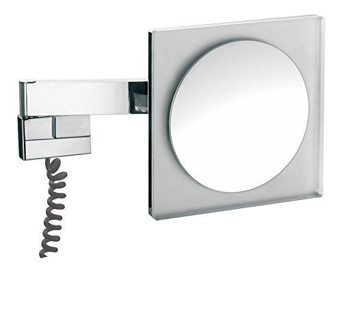 emco LED R.- u.Kosmetikspiegel, 2-armig Vergrößerung 5-fach, mit Farbwechsel, Stecker,eckig,Chrom