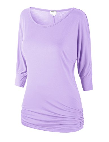 Match Women's 3/4 Sleeve Drape Top with Side Shirring(140 Lilac,Large)