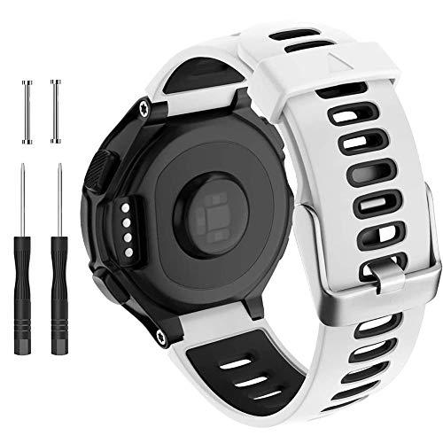 CAKAMENSHY Correa de reloj compatible con Garmin Forerunner 735XT 220 230 235 620 630 Approach S20 S5 S6 Banda de silicona suave con hebilla de metal para reloj inteligente Garmin (blanco)
