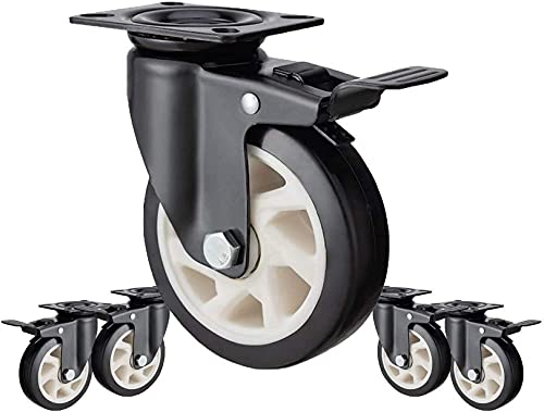 WWJ - Ruedas giratorias para Muebles, 5 Piezas con Freno, Ruedas giratorias Resistentes para Carrito de Muebles de 5 Pulgadas (tamaño: 4 Pulgadas)