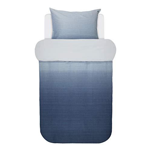 Marc O Polo Mako-Satin Wendebettwäsche Lalani Indigo Blue 1 Bettbezug 155 x 220 cm + 1 Kissenbezug 80 x 80 cm