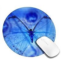 丸型マウスパッド ゲーミングマウスパッド ブルー蝴蝶 おしゃれ オフィス自宅兼用 滑り止めゴム底 耐洗い表面 厚地 精密度アップ 光学式マウス対応 20*20cm 厚さ3mm