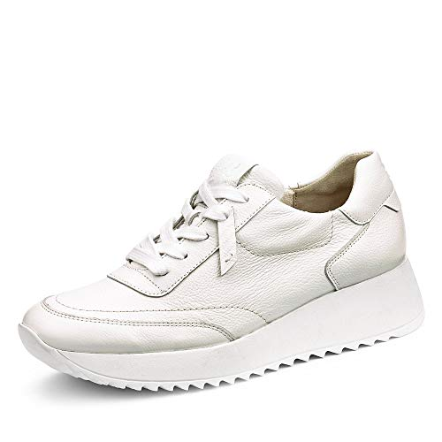 Paul Green Damen Sneaker 4946, Frauen Low-Top Sneaker, Halbschuh strassenschuh schnürer schnürschuh sportschuh Plateau-Sohle,White,39 EU / 6 UK